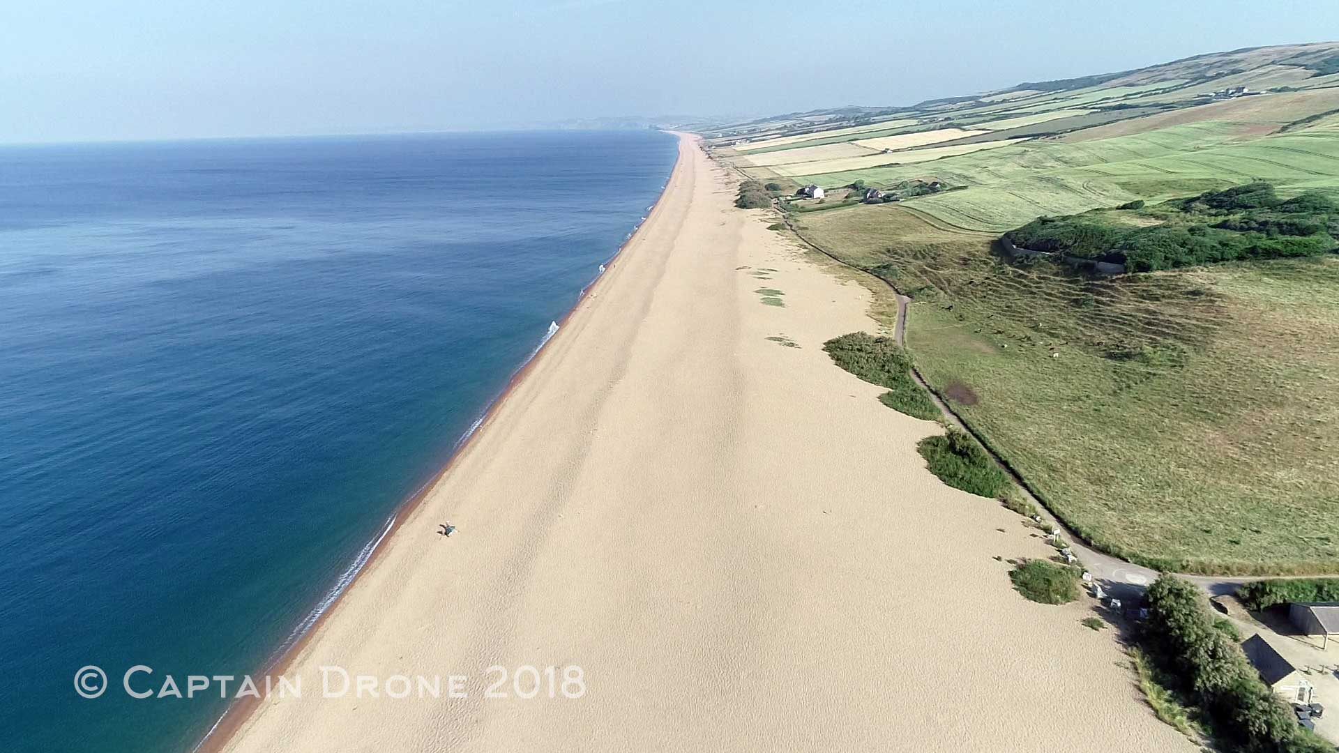Chesil Beach aerial photography by Captain Drone
