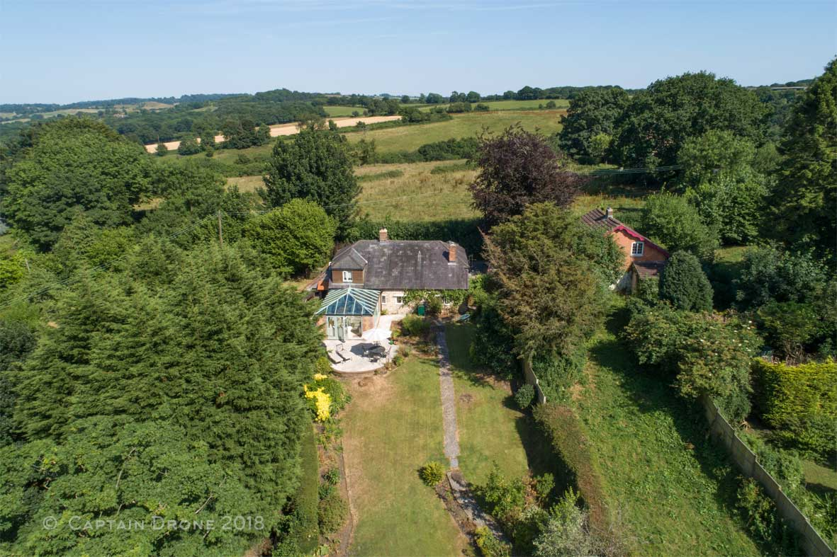 House in Corscombe - aerial property photography by Captain Drone