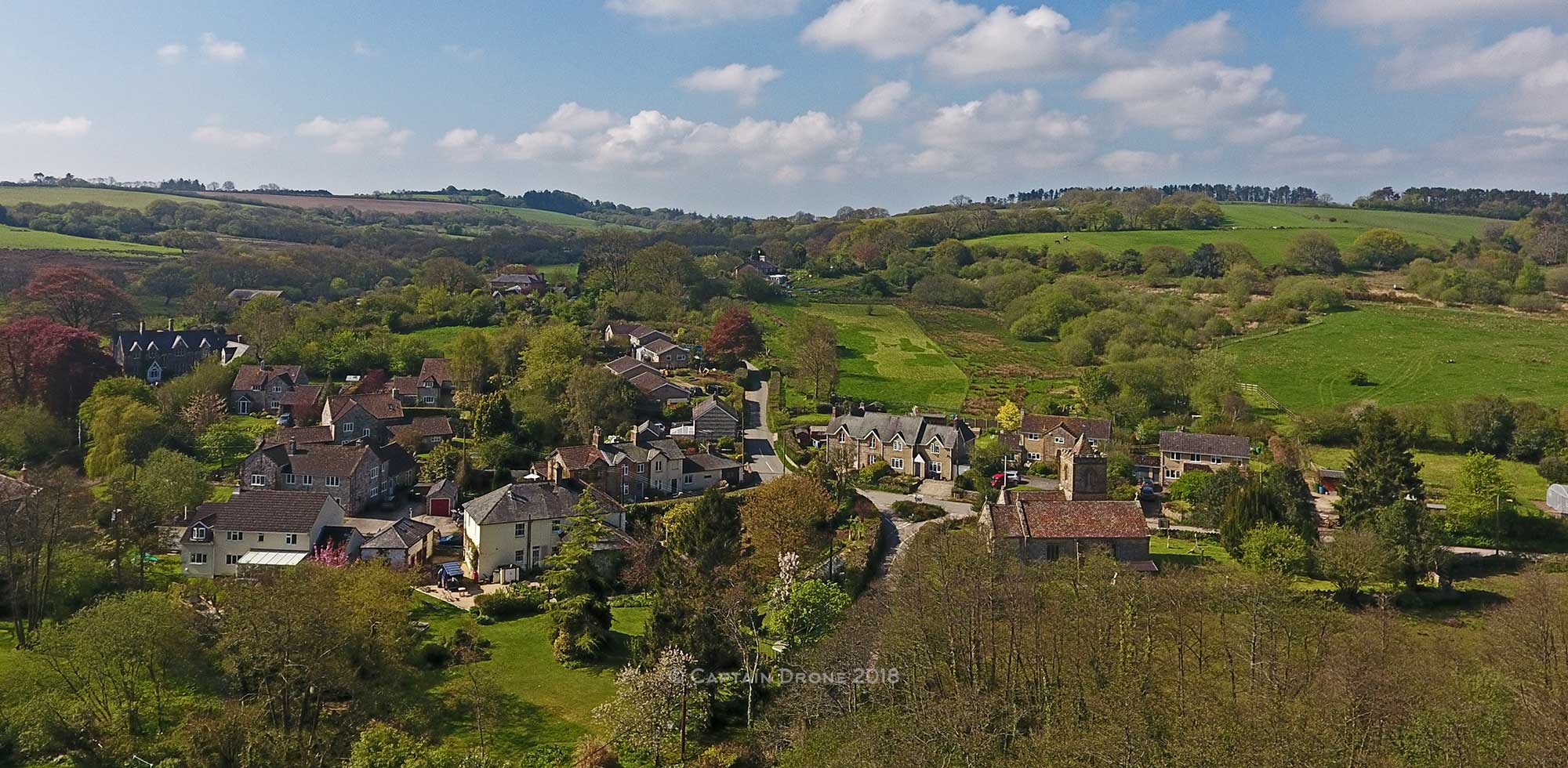 Hooke Dorset village aerial photography by Captain Drone